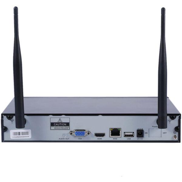 Kit Videosorveglianza IP Wireless nvr 4 canali 4 Telecamere IP Full Hd wifi Auto configurante ampia copertura radio