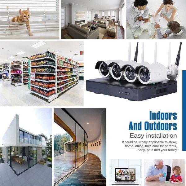 Kit Videosorveglianza IP Wireless nvr 4 canali 8 Telecamere IP Full Hd wifi Auto configurante ampia copertura radio