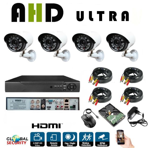 Kit Videosorveglianza Full Hd 1080p Ahd 4 Telecamere 4 Canali